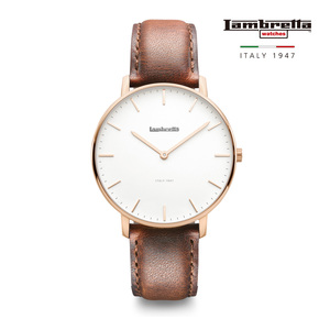 [Lambretta Watches] 람브레타 Classico 40 Rose Gold White Brown 가죽시계